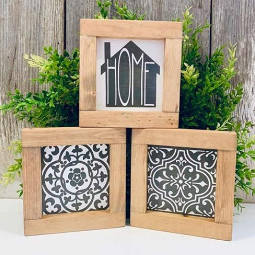 Mini Framed Mosaic Tile Home Wood Wall Art Plaque Decor Grey and White Set of 3
