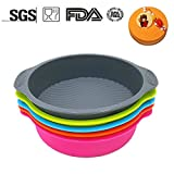 Silicone Round Cake Pans Set of 5 Jumbo   Approx. 9 Inch Large Cake Baking Mold with Beautiful Wavy Line Design   Textured Grips, Nonstick Bakeware, BPA Free (Multi Set of 5)