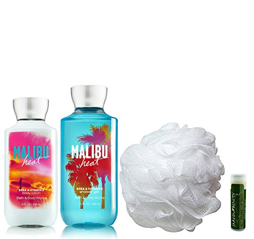 Basics Rich Moisture Coconut (MALIBU HEAT Bath & Body Works 4 Piece Gift Set of Body Lotion, Shower Gel & Shower Puff with a Jarosa Bee Organic Peppermint Lip Balm by Jarosa Gifts)