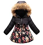 SS&CC Girls' Long Flower Printing Bowknot Winter Hooded Down Jacket Size 8/10, Black