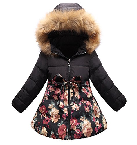 SS&CC Girls' Long Flower Printing Bowknot Winter Hooded Down Jacket Size 7/8, Black -