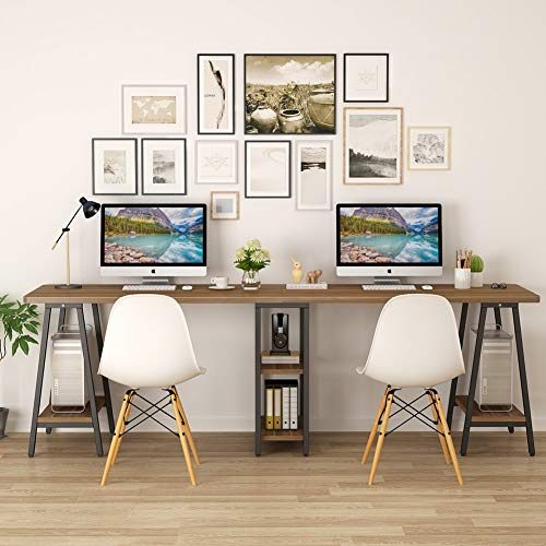 Tribesigns 94.5 Inches Computer Desk, Extra Long Two Person Desk with Storage Shelf, Double Workstation Executive Office Desk for Home Office