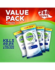 Dettol Antibacterial Surface Cleaning Disinfectant Wipes, 288 Wipes, Pack of 4 x 72