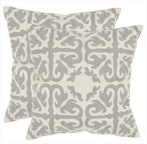 Safavieh Pillows Collection Moroccan Decorative Pillow, 18-Inch, Light Grey, Set of 2
