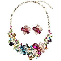 Crystal Statement Necklace and Earrings Sets
