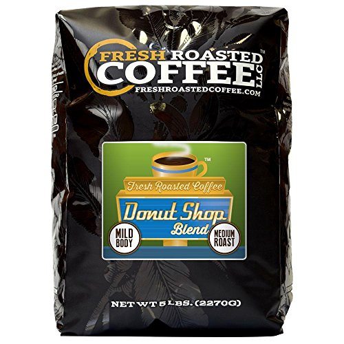 Fresh Roasted Coffee LLC, Donut Shop Coffee, Artisan Blend, Medium Roast, Whole Bean, 5 Pound -