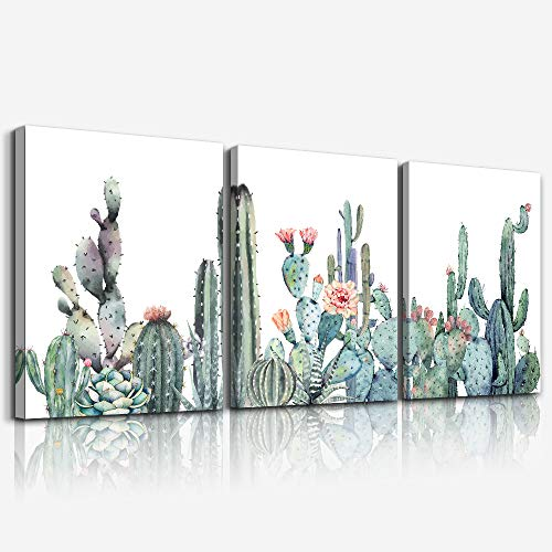 """Canvas Wall Art for bedroom living room Canvas Prints Artwork bathroom Wall Decor Green plants cactus flower watercolor painting 16"""" x 24"""" 3 Pieces modern Framed Ready to hang Office Home Decoration"""