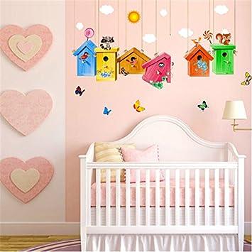 Vinilo pegatina de pared infantil casas de pajaritos decorativo y alegre  para cuartos bebes niños juegos guarderias colegios 1.10 x 70 cm de  CHIPYHOME