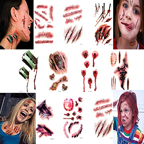 Chucky's Bride Halloween Makeup (smile angel Halloween Simulation Scar Stickers Cosplay Wound Zombie Scars Waterproof Tattoo Stickers)
