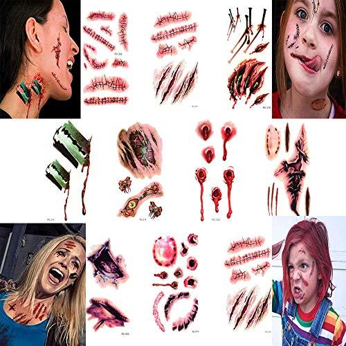 Black Bride Halloween Makeup (smile angel Halloween Simulation Scar Stickers Cosplay Wound Zombie Scars Waterproof Tattoo Stickers)