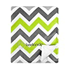 berlando Signature Edition Chevron Baby Blanket, 100% Polyester, Green and Gray