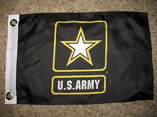 12X18 Inch Nylon Double Sided Black Army Star Boat Car Flag Grommets -