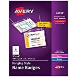 Avery Name Badges with Lanyards, Print or Write,  3' x 4', Badge Holders & Lanyards, 100 Inserts (74459)