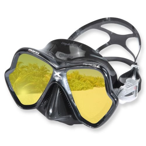 Mask Mirrored Lens (Mares X-Vision Ultra Liquid Skin Dive Mask, Black/Gold Mirrored Lens)