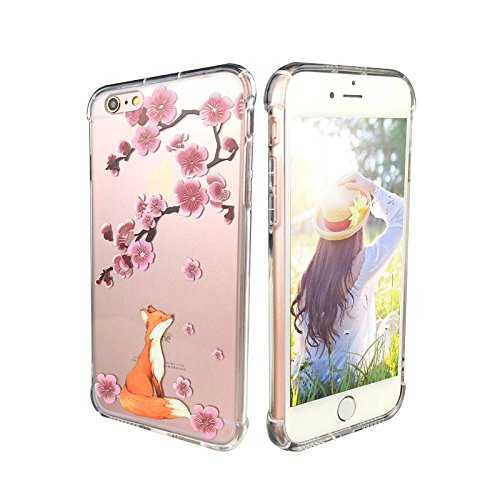 - iPhone 6 Case, iPhone 6s Case Clear, Ftonglogy Flower Pattern Printed Design Transparent Plastic Hard Back with Air Cushion Shockproof TPU Bumper Protective Case Cover for Girls (fox cherry blossoms)
