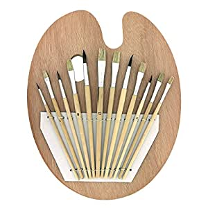Set Paleta y 12 Pinceles de Madera por Kurtzy - Set de Pinceles y Paleta de Madera Ovalada Apta para Usar con Pintura Acrílica - Kit Perfecto Arte y Manualidad para Proyectos Profesionales y Amateur