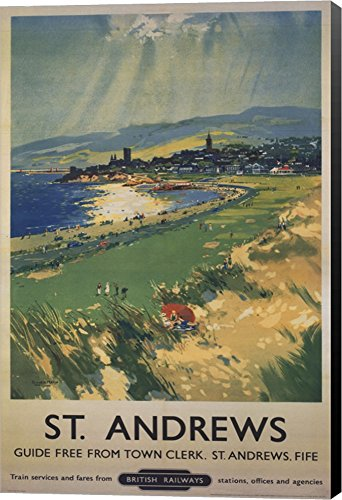 Vintage Golf - St Andrews Canvas Art Wall Picture, Museum Wrapped with Black Sides, 24 x 36 inches