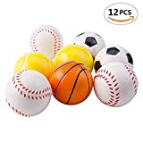 12-Soft Foam Sports Balls For Kids 2.5' Perfect for Small Hands Includes 3 Soccer Ball, 3 Basketball, 3 Baseball, and 3 Tennis Ball (Color as available)