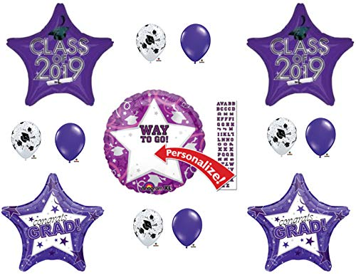 PERSONALIZE! CLASS OF 2019 Purple Graduation Party Balloons Decoration Supplies -