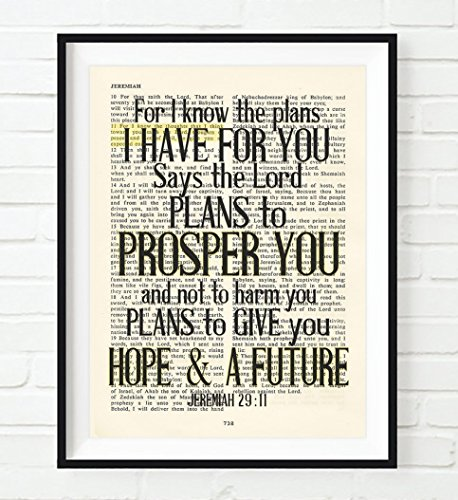 Vintage Bible Page Verse Scripture, For I Know The Plans, Jeremiah 29:11, Christian Art Print, Unframed, Christian Wall and Home Decor Poster, All Sizes