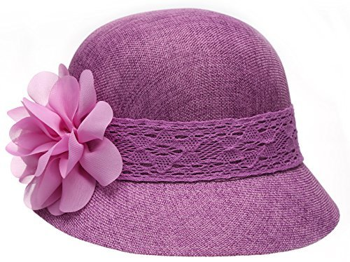 (Epoch Women's Gatsby Linen Cloche Hat With Lace Band and Flower - Purple)