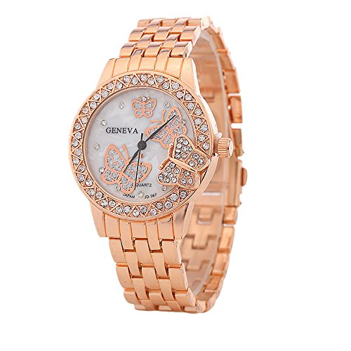 Bling Jewelry Stainless Steel Back Crystal Butterfly Womens Fashion Watch Rose Gold