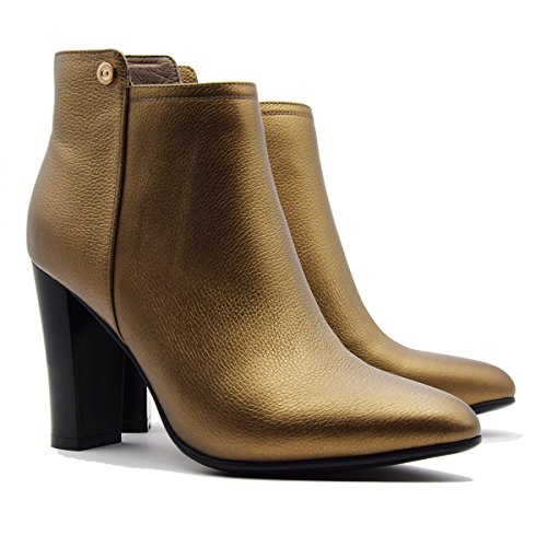 Chunky gold Leather Leather A Party Bride Bootie for Evening Genuine Autumn Women's Verocara Winter High and Dress Heel ETBnpaBRq