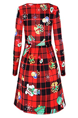 amp;plaid Print Women's Shirt Floral Pleated Long Dress T Red Sleeve DREAGAL 4RvEnHqxpH
