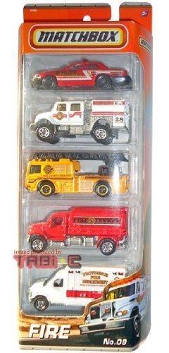 2010-2011 MATCHBOX 5 PACK, FIRE cars #9: Ford Crown Victoria, International WorkStar Brush Fire Truck, Fire Engine, MBX Tanker, Ford E-350 Ambulance