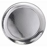 HUBERT Metal Serving Tray with Hammered Finish Round Stainless Steel - 18 1/2''Dia