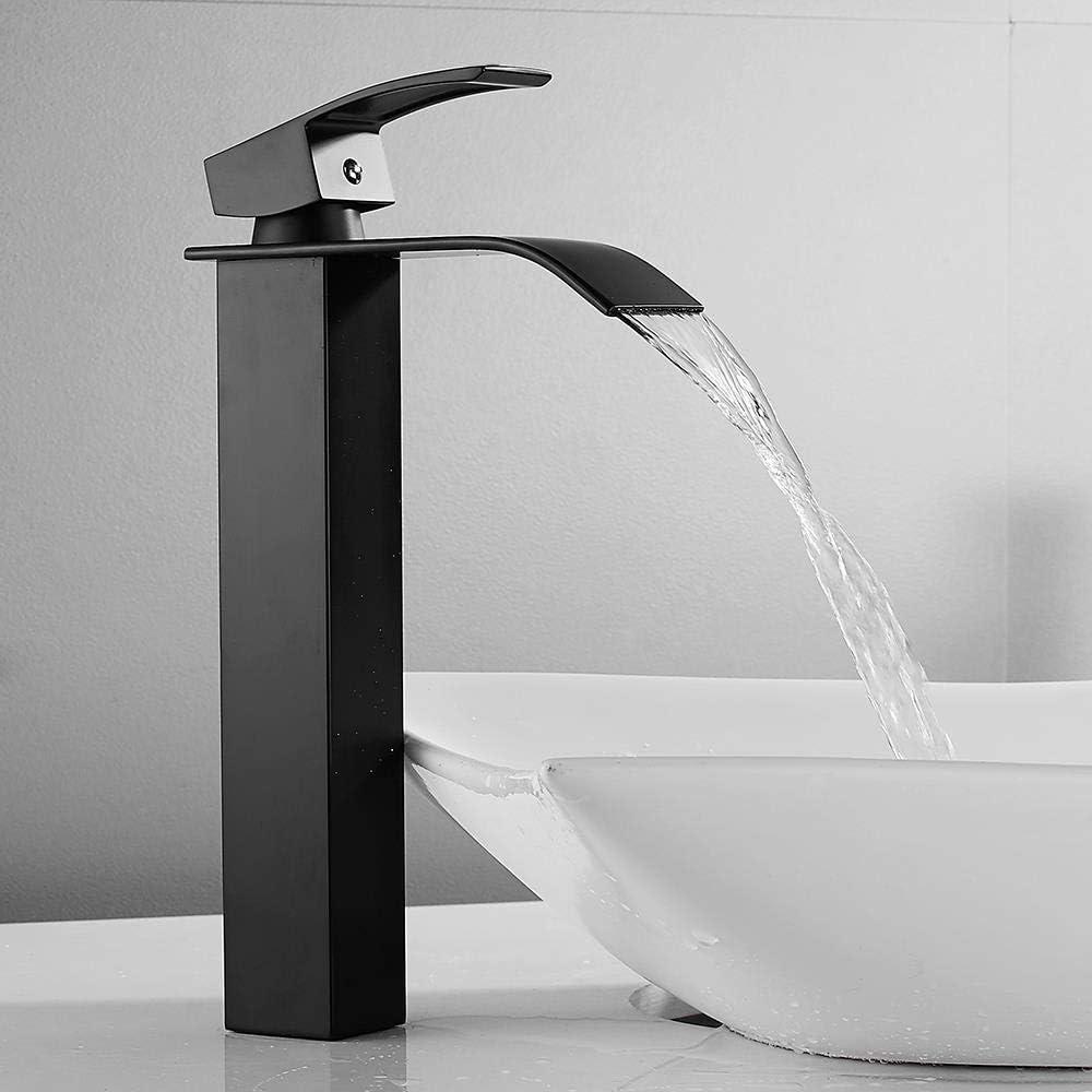 QYCP-Grifo Grifo monomando para fregaderoMezclador de fregadero Grifo de cascada Grifo de lavabo alto Grifos de lavabo Mezclador de lavabo Grifo cuadrado cuadrado en spray negro Cuerpo de acero inox