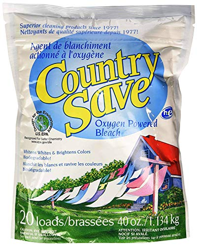 Country Save Oxygen Bleach Powder - Color Safe Bleach Laundry Whitener - Hypo-Allergenic Powder Bleach Cleaner for Whites and Colored Garments - Resealable Pack, 2.5 lbs (Laundry Detergent Country Save)