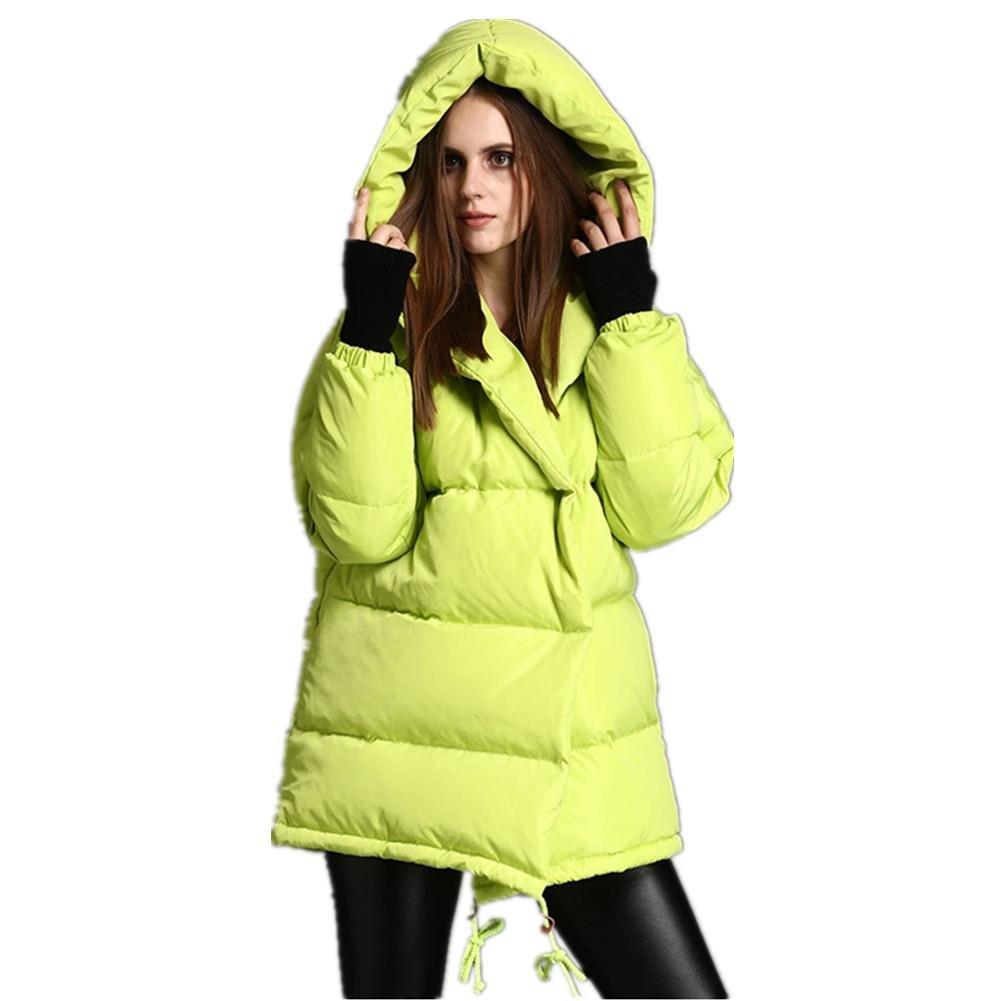 SHISHANG Invierno nuevo damas autocultivo abrigo con capucha mediano largo con pato blanco espeso ab...