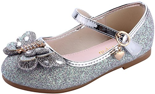 miaoshop Girls Ballerina Flat Wedding Dress Shoes Kids Party Dance Crystal Butterfly Mary Janes (10 M US Toddler, Silver) ()