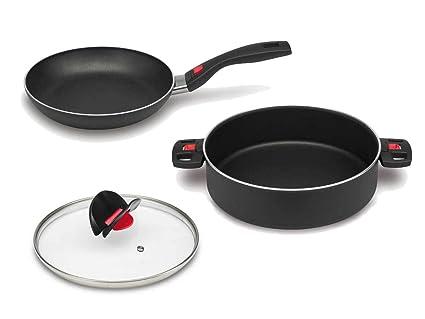 Ballarini Juego de 3 sartenes cerámicas Click and Cook Cocina Mango Sartén nuevo OVP 28,