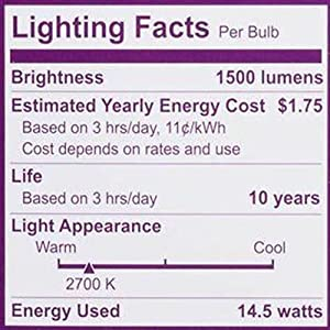 Philips 461961 LED Non-Dimmable A19 Frosted Light Bulb: 1500-Lumen, 2700-Kelvin, 14.5-Watt (100-Watt Equivalent), E26 Base, Soft White, 8-Pack