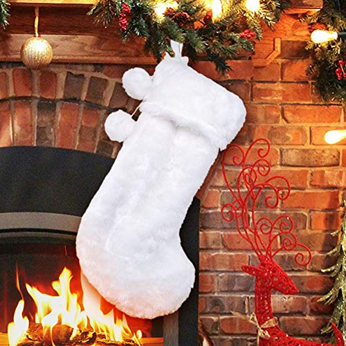 AerWo 21 White Faux Fur Christmas Stocking, Snowy Luxury Hanging Christmas Stocking for Christmas Fireplace Decoration