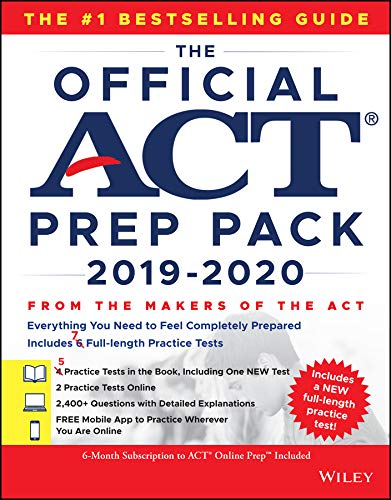 Official Guide Book - The Official ACT Prep Pack 2019-2020 with 7 Full Practice Tests, (5 in Official ACT Prep Guide + 2 Online)