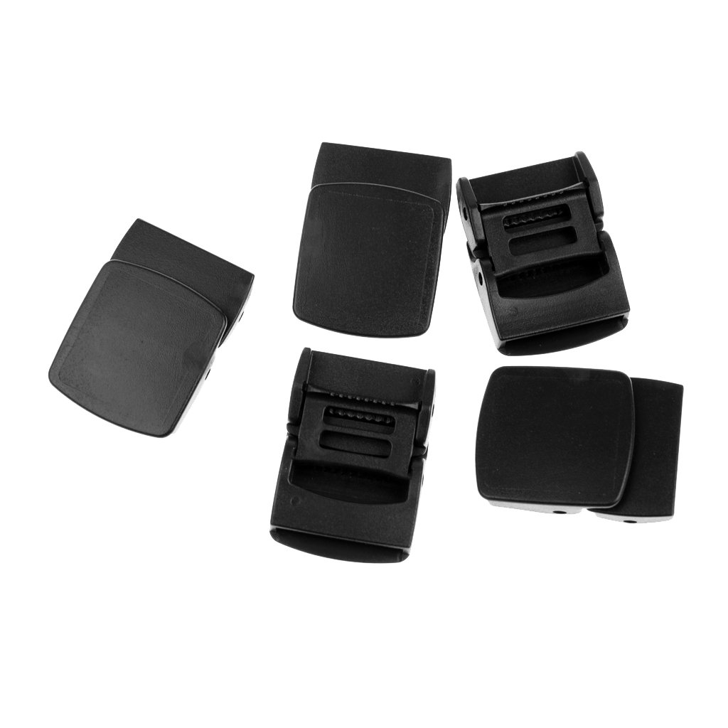 MagiDeal 5 Pack 1 Webbing Plastic Cam Lock Buckle Black Toggle Clip Backpack Straps Belt Buckle Case Fastener Replacement