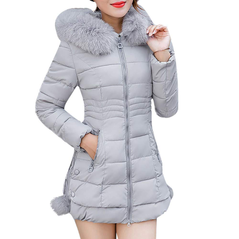 Women's Winter Warm Coat Faux Fur Hooded Puffer Cotton Parka Jacket Long Overcoat DBolomm