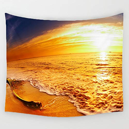 FidgetGear Forest Scene Pattern Wall Hanging Tapestry Hippie Bedspread Beach Towel Yoga Mat #20 Golden Sea and Beach and Sun One Size ()