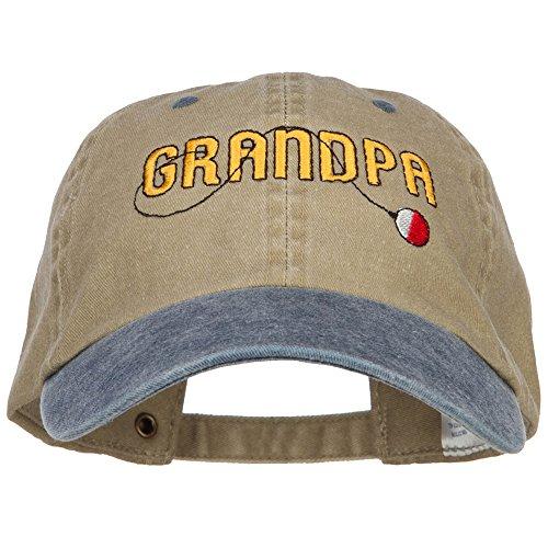 Grandpa Fishing Embroidered Low Cap - Khaki Navy OSFM