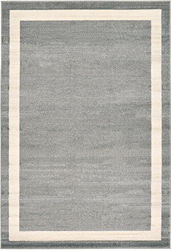 Contemporary 6' Square Rug - Unique Loom Del Mar Collection Contemporary Transitional Gray Area Rug (6' 0 x 9' 0)