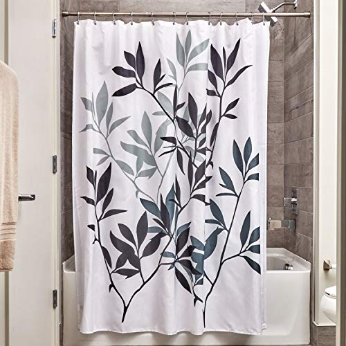 iDesign Leaves Fabric Shower Curtain, Modern Mildew-Resistant Bath Curtain for Master Bathroom, Kid's Bathroom, Guest Bathroom, 72 x 72 Inches, Black and Gray (Curtain And Green Black Shower)