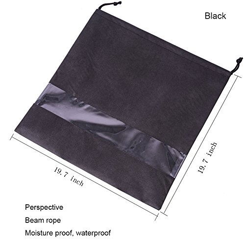 2 PCS Handbag Dust Bags Perspective Window Storage Bag Non-woven Breathable Drawstring Pouch (Windows-Black) by AUMEY (Image #2)