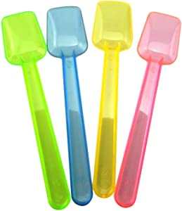 Honbay 100PCS Assorted Color 3.74 Inch Mini Plastic Shovel Spoons Perfect For Sampling Tasting or Taste Testing Frozen Desserts Ice Cream Cereal Yogurt Cake Pie or any Food You Desire