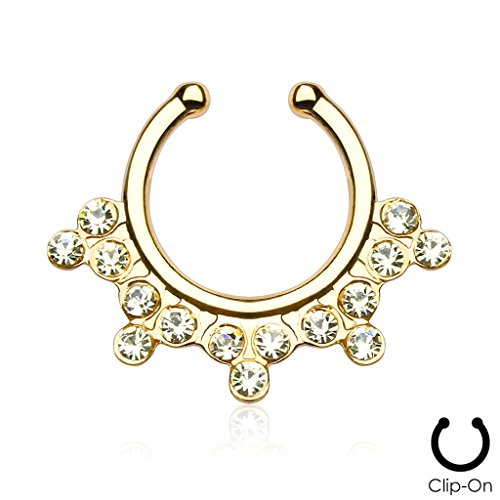 Septum Hanger Snowflake with Clear CZ Gems Non-Piercing faux septum ring (1 Piece) (gold plated) (Snowflake Piercing Gem compare prices)