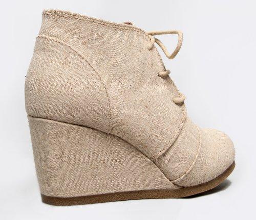 J. Adams Wedge Ankle Boot - Low Heel Bootie - Casual Comfortable Lace Up Heel - Fashion Short Heeled Womens Bootie Beige Linen LqjXQDO