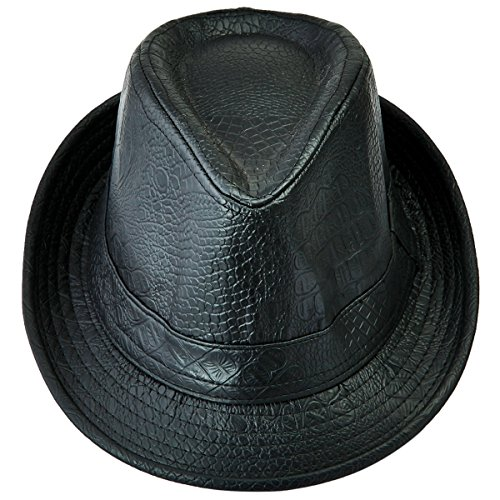 Samtree Fedora Hats for Women Men,Classic PU Leather Panama Cap Jazz Hat(02-Black) (Ladies Leather Hats)