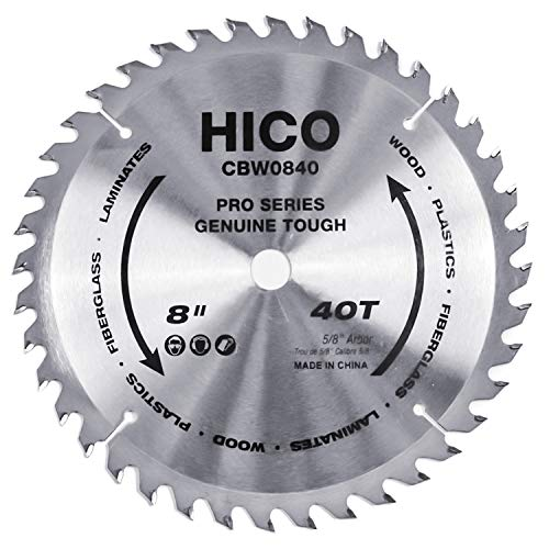 HICO 8-Inch 40-Tooth ATB Miter Saw Blade Thin Kerf General Purpose Circular Saw Blade with 5/8-Inch Arbor for Softwood Hardwood Plywood